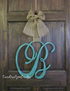 Single Letter Monogram Wooden Door Decor, SCRIPT font monogram, monogram wreath, 18 inches by CarolinaMoonCrafts