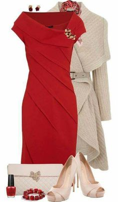 I love everything about this red dress outfit. Red dress and a nude heel is perfect Classy Outfits, Beautiful Outfits, Gorgeous Dress, Mode Style, Style Me, Classy Style, Look Fashion, Womens Fashion, Gq Fashion