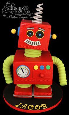Robot - by Alwayswithcake @ CakesDecor.com - cake decorating website