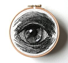 Human Eye Original Stitched Illustrated Wall Plaque by Etsy seller Samskiart. Amazing!