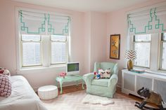 House of Turquoise: Caitlin Wilson Design: put tape on roller shades to add design to Mark's room