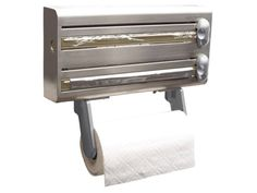 Kitchen Craft Stainless Steel Cling Film, Foil and Kitchen Towel Dispenser - Think about the number of times you have missed the dotted line and ripped awkward sheets of mangled clingflim over your knee. Breathe. Then check out this clever wall mounted foil and film dispensing friend.