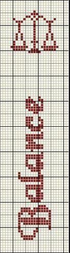 """Grille filet pour crochet ou Point de croix """"Marque Page Astro"""" Crochet Bookmark Pattern, Crochet Bookmarks, Cross Stitch Bookmarks, Cross Stitch Embroidery, Filet Crochet, Horoscope Signs, Zodiac Signs, Signes Zodiac, Libra Zodiac"""