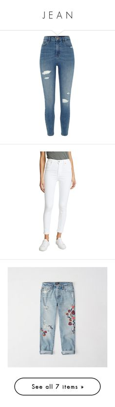 """""""J E A N"""" by daytodayteen ❤ liked on Polyvore featuring jeans, pants, bottoms, blue, skinny jeans, women, ripped skinny jeans, high waisted jeans, high waisted ripped jeans and ripped denim skinny jeans"""