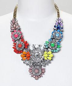 Look what I found on #zulily! Rainbow Flower Crystal Statement Bib Necklace by Sorta Southern Boutique #zulilyfinds