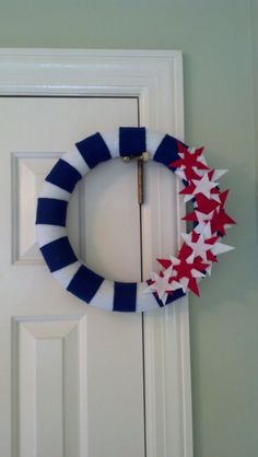 "14"" Felt Wreath -- Red, White,  Blue -- Memorial Day, Flag Day, Independence Day. Cheap, easy, I like it."