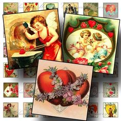 Victorian Valentines 3 1 Inch Square  by CharmedMemoryCollage #vintage #digitalcollage #etsy