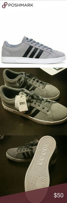 Mens adidas baseline cloudfoam sneakers NWT. Men's gray suede Adidas baseline shoes. Cloudfoam. Super stylish Adidas Shoes Athletic Shoes