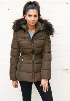 Harper Luxe Quilted Longline Hooded Puffer Coat with Faux Fur Trim & Belt in Khaki Green Khaki Jacket, Green Jacket, Fur Jacket, Hooded Jacket, Green Fur, Khaki Green, Ladies Coats, Coats For Women, Winter Coats