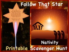Christmas activity for kids & Nativity lesson. Follow the Star of Bethlehem on a glow in the dark treasure hunt. Printable stars/ clues. Super fun and meaningful way to learn about the Christmas story. Egglo.com