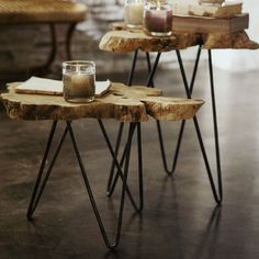 Thick slices of naturally shaped wood burl are set on iron hairpin legs to form these intriguing occasional tables. Each piece is unique!