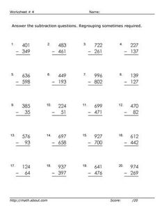 math worksheet : subtractions with regrouping across zeros worksheets  printable  : Subtracting Across Zeros Worksheets