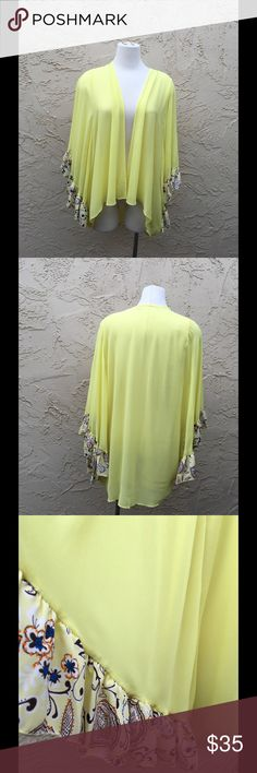 "50% Off Gorgeous New Chiffon Cover up✨ Beautiful in lemon color Cover upBy J&M Fun large Sleeves Chiffon One Size 100% Polyester 32"" back length, 26"" front length. J&M Clothing Swim Coverups"