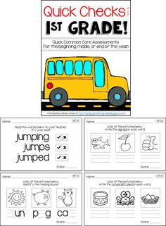 Common Core Phonics & Math Assessments - 1st Grade! Quick, 3 question assessments to check in with your students and guide their learning!