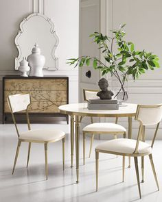 Stone-Top Dining Table from caracole at Horchow, where you'll find new lower shipping on hundreds of home furnishings and gifts. Metal Chairs, Side Chairs, Dining Chairs, Dining Rooms, Room Chairs, Luxury Furniture, Furniture Design, Round Dining Table, Home Furnishings