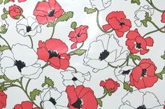 1970s Retro Wallpaper – Vintage Vinyl Pink and White Poppies by RetroWallpaper on Etsy https://www.etsy.com/listing/236120274/1970s-retro-wallpaper-vintage-vinyl-pink