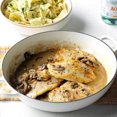 Contest-Winning Chicken with Mushroom Sauce Recipe -It looks impressive, but this mouthwatering dish comes together in no time. I think its flavor rivals that of many full-fat entrees found in fancy restaurants.