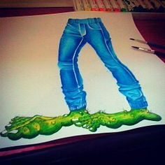 """""""Ork Use Blue Denim"""" 42 x 30 cm Water color on paper 2014 Hand made by Yanas Kosel"""