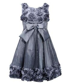 ELEGANT silver grey dress with bonaz embroidered bodice accented with sequins, bow at empire waist and pleated skirt by Bonnie Jean - excellent dress for any special occasion! (sz.4-16) #Christmas