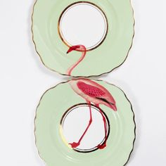 Cute and quirky Flamingo vintage plates with unique illustrations applied to each and beautiful gilt gold detailing. These gorgeous matching plates