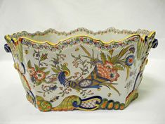 Antique Hand Painted French Planter-Rouen Cornucopia