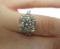 SO OBSESSED!! <3  18k White Gold Diamond Engagement Ring c.1960s by ParryJewelers, $3795.00