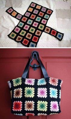 Crochet Tote, Crochet Handbags, Crochet Purses, Crochet Crafts, Crochet Yarn, Easy Crochet, Crochet Projects, Crochet Granny, Free Crochet