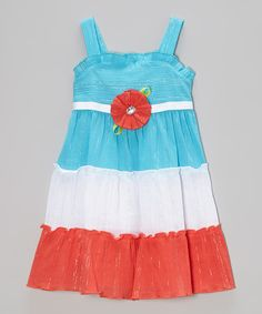 Loving this Sweet Heart Rose Blue & Coral Shimmer Tiered Dress - Toddler & Girls on #zulily! #zulilyfinds