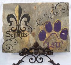 Saints Fleur de lis and LSU Paw Print Wall by NewOrleanSlateDesign, $38.00