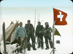 The Swiss Greenland Expedition 1912 - The participants: Hans Hössli, 29, Roderich Fick, 26, Karl Gaule, 24, and Alfred de Quervain, 33