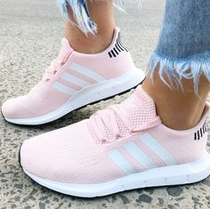 wholesale dealer d193e 42807 The adidas Swift Run shoes are the go-to sneaker for us all. Combining  maximum comfort with a stunning icey pink styled look.