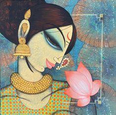 Indian Art Paintings, Modern Art Paintings, Original Paintings, Pichwai Paintings, Lotus Artwork, Indian Contemporary Art, Rajasthani Art, Mural Painting, Fabric Painting