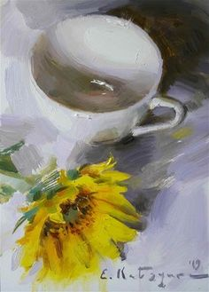 """Daily Paintworks - """"Cup and Sunflower"""" - Original Fine Art for Sale - © Elena Katsyura Tea Cup Art, Large Scale Art, Fine Art Auctions, New Artists, Fine Art Gallery, Beautiful Paintings, Painting Inspiration, Art For Sale, Watercolor"""