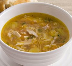 In days past, this soup involved the slow simmering of a whole chicken, but today it is prepared with less time and effort. Good with warm crusty bread.