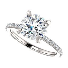 Adaptable 2.00 Ct Round Cut Moissanite Engagement Ring 14k Solid White Gold Size L N M P 7 Fine Jewelry Fine Rings