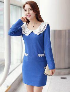 Sweet Style Lace Collar Pocket Trim Dress