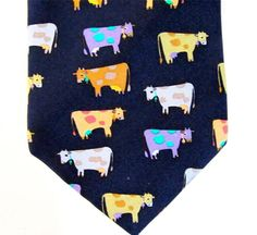 Moo! Dairy Cows Neck Tie by Alynn Neckwear Colorful Cows on Navy Background $15.50 #Cows #NeckTie