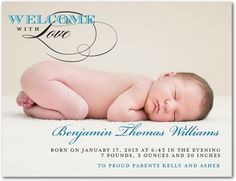 Boy Photo Birth Announcements Welcome With Love - Front : Cruise