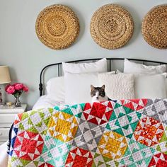 I don't know what is more adorable: the quilt or the cat photo bombing the picture?  Thank you @vchristenson for this adorable picture. #southernfabric