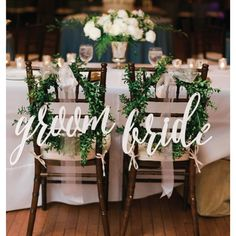 Cursive Bride and Groom Chair Signs