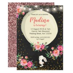 Bunny Birthday Pink Beautiful Floral Invitation - floral style flower flowers stylish diy personalize