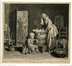 In a domestic interior, a woman doing the laundry in a large basin, while another woman is hanging the washing in the background and a boy, ...