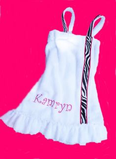 Zebra towel Spa wrap Monogram Kid's Ruffled by Baileywicks Spa Sleepover Party, Spa Party, Childrens Towels, Outfits For Teens, Cool Outfits, Natural Dye Fabric, Towel Dress, Monogram Towels, Summer Wraps