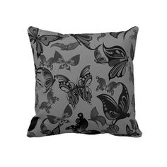 Cute black gray butterflies background design pillow  Awesome, not overwhelming.