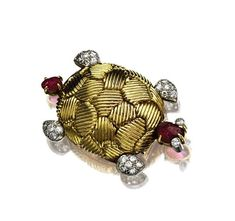 18 karat gold, ruby and diamond turtle brooch, Van Cleef & Arpels, Paris, circa 1950
