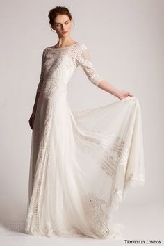 temperley london summer 2016 bridal marsy three quarter sleeve lace wedding dress