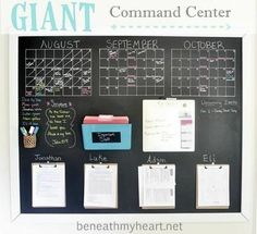 By creating a DIY Family command center, you will be able to keep it under control a little bit better. Family command centers are totally customizable to your needs. Command Center Kitchen, Family Command Center, Command Centers, Chalkboard Command Center, Kitchen Message Center, Home Office Organization, Organization Hacks, Family Organization Wall, Calendar Organization
