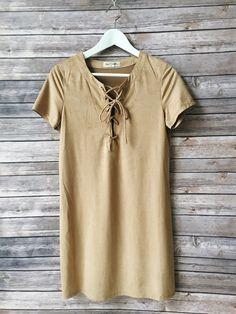 Carleigh Faux Suede Tshirt Dress (Tan)