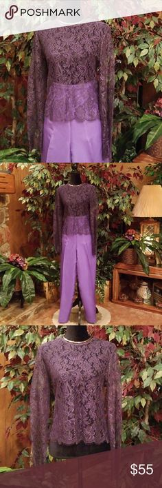 """NWOT/Ellen Tracy Lace Top New, never worn, beautiful all lace, 100% nylon, 16 snaps rear closure. 25"""" sleeves, 21"""" shoulder to hem line, 19"""" armpit to armpit. Accessories not included. Offers welcomed. Ellen Tracy Tops Blouses"""