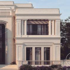 #classic #villa #qatar #design #architecture Classic House Exterior, Classic House Design, House Front Design, House Paint Exterior, Dream House Exterior, New Classical Architecture, Classic Architecture, Facade Architecture, Entrance Design